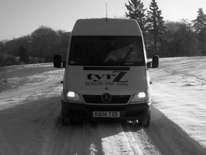 tyrZ mobile van in the snow